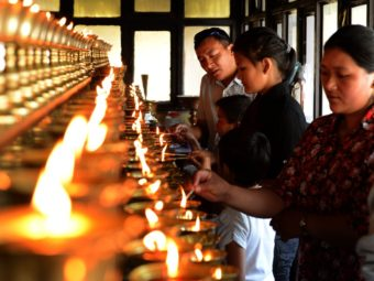 Family members of the Mount Everest avalanche victims were lighting oil lamps Sunday at a Sherpa Monastery in Kathmandu, Nepal. Prakash Mathema /AFP/Getty Images