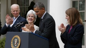 Vice President Biden (from left), Health and Human Services Secretary Kathleen Sebelius, President Obama and Budget Director Sylvia Mathews Burwell at the White House Friday. Sebelius is stepping down. Burwell is being nominated to replace her. Charles Dharapak/AP
