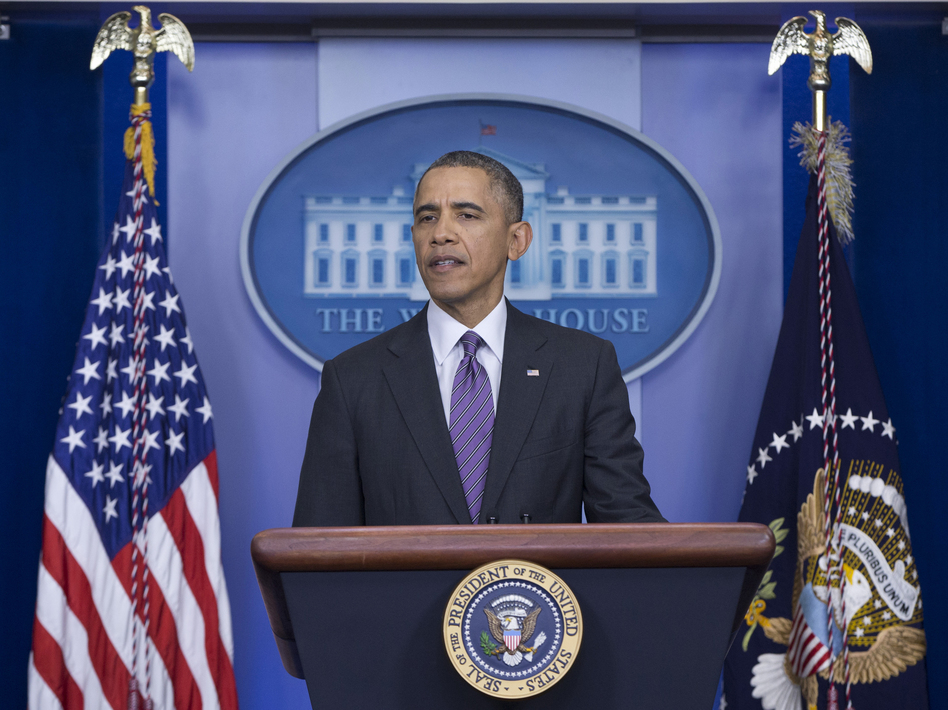 "President Obama speaks about health care on Thursday. ACA enrollment has reached 8 million, he said, and it's ""well past time"" for Republicans to stop trying to repeal it. Carolyn Kaster/AP"