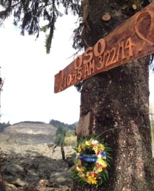 A memorial erected by rescue workers near the site of the March 22 mudslide that killed at least 39 people. Martin Kaste/NPR