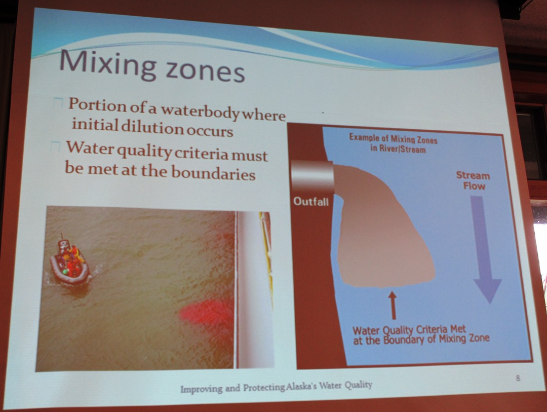 A slide from Michelle Hale's presentation shows how mixing zones work. (Photo by Leila Kheiry/KRBD)