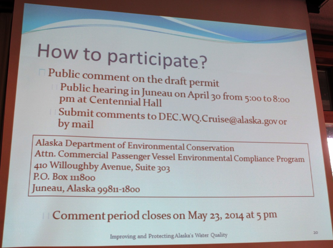 A slide from Michelle Hale's presentation shows how the public can comment on the cruise wastewater permit process. (Photo by Leila Kheiry/KRBD)
