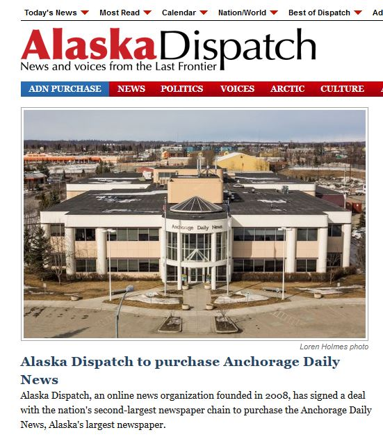 The homepage of the Alaska Dispatch after the sale was announced.