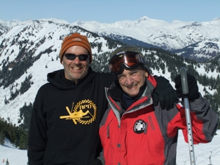 Bob Janes St. and son Bill at the top of Black Bear chair in 2010.