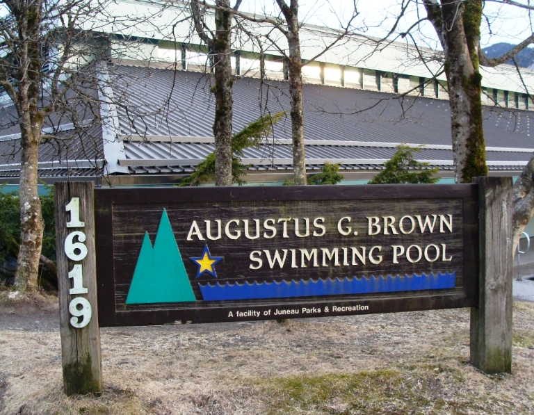 Augustus Brown Swimming Pool is adjacent to Juneau-Douglas High School on Glacier Avenue in downtown Juneau. (Photo by Casey Kelly/KTOO)
