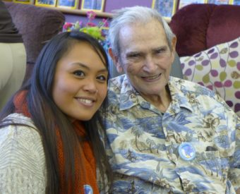 Bob Janes and Marina Rae Caparas, a Certified Nurse Aide at the Juneau Pioneers' Home, during the 25th anniversary party for the home on Nov. 16, 2013. (Photo courtesy of Dick Isett).
