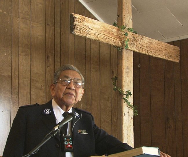 Cyriil George Sr. in 2007, speaking at Angoon Presbyterian Church, where his son Joey is pastor. (Photo by Skip Gray/KTOO)