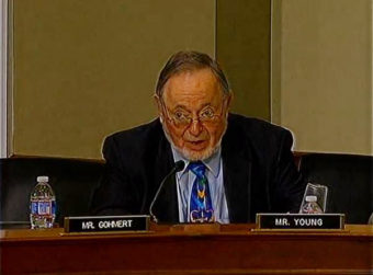 Don Young spent his five minutes questioning Jewell about the King Cove road. (Image via YouTube)