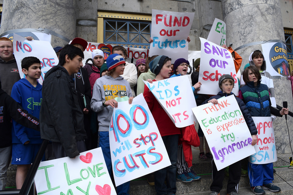Students from the Juneau Charter School participate in a rally on the Capitol steps organized by the Great Alaska Schools coalition, April 4, 2014. (Photo by Skip Gray/Gavel Alaska)