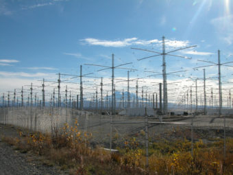 HAARP antenna array. (Photo by Michael Kleiman, US Air Force)