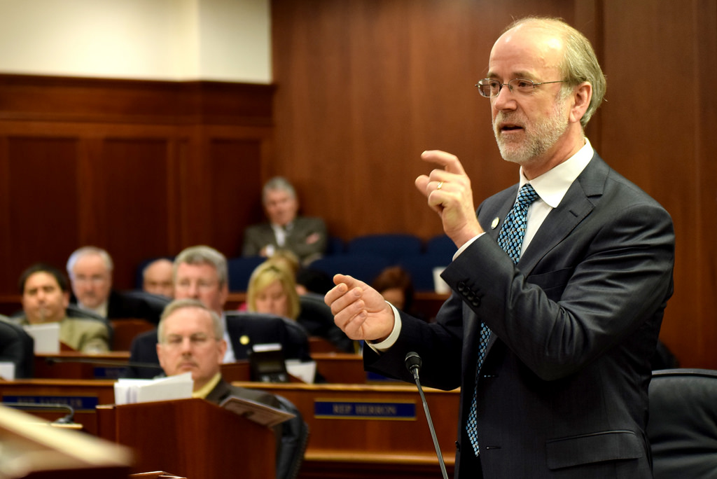 Sen. Hollis French addresses a joint session of the Alaska Legislature during debate about confirmations of the governor's appointees, April 17, 2014. (Photo by Skip Gray/Gavel Alaska)