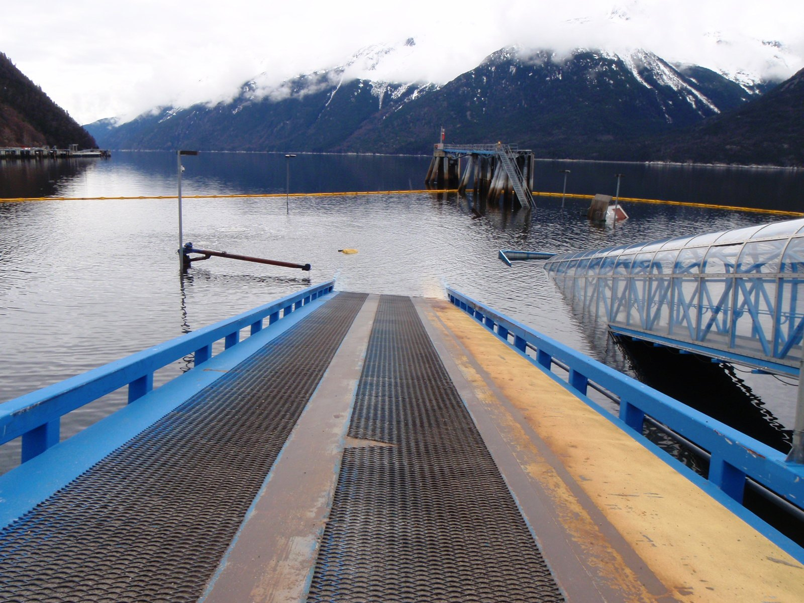 AMHS vehicle and pedestrian ramps in Skagway plunge into the water. (Photo courtesy Kirk Miller, Alaska DOT&PF)