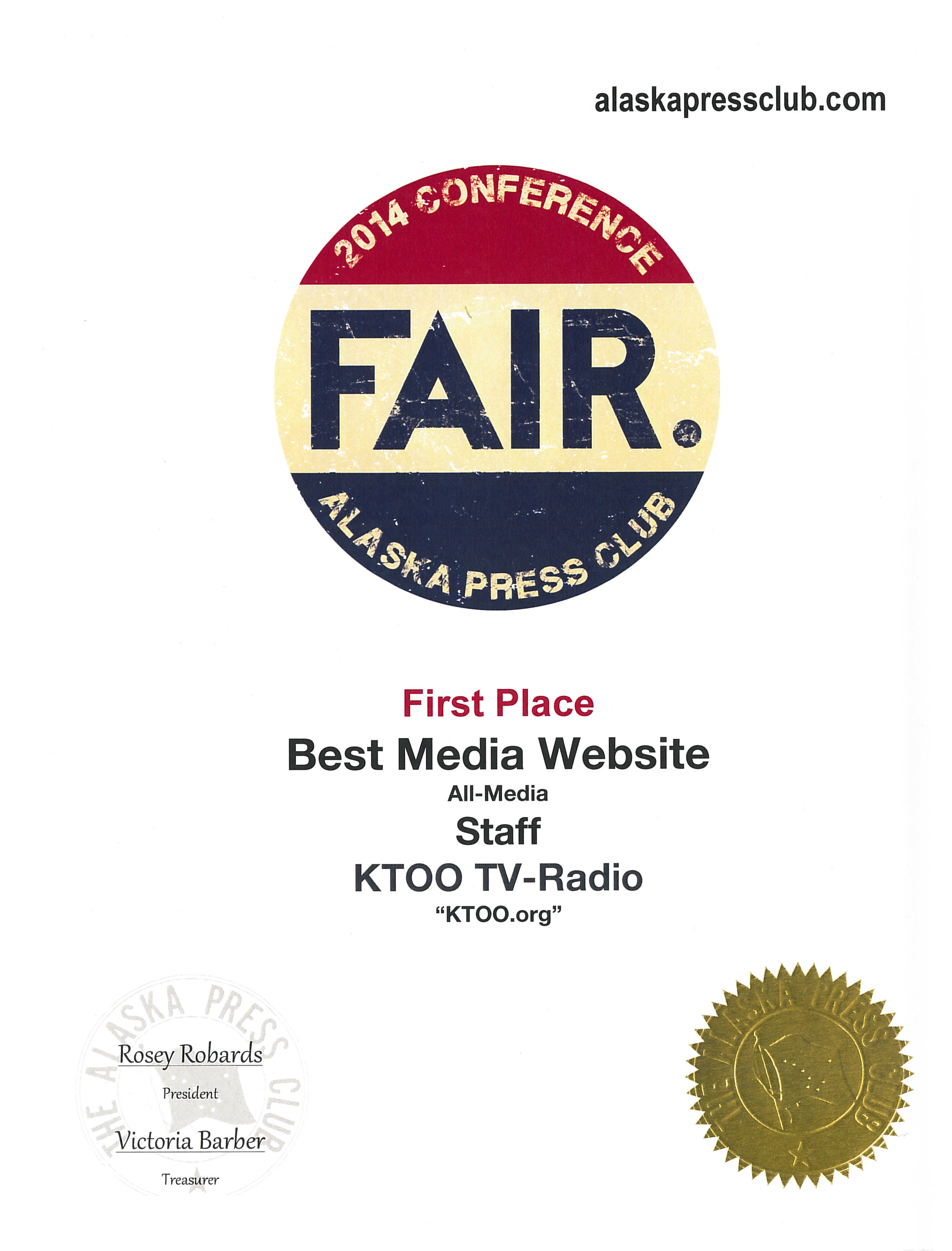 KTOO was awarded best media website.