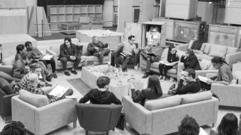 J.J Abrams (top center right) at the cast read-through of Star Wars: Episode VII on Tuesday with Harrison Ford (clockwise from right), Daisy Ridley, Carrie Fisher, Peter Mayhew, Producer Bryan Burk, Lucasfilm President and Producer Kathleen Kennedy, Domhnall Gleeson, Anthony Daniels, Mark Hamill, Andy Serkis, Oscar Isaac, John Boyega, Adam Driver and Writer Lawrence Kasdan. David James