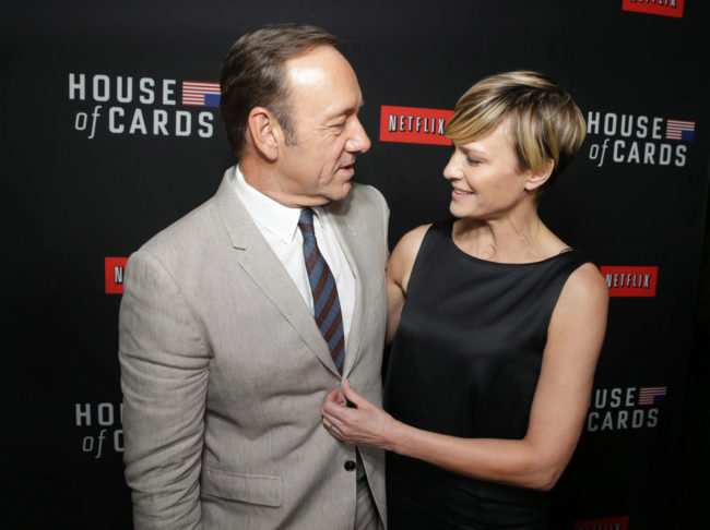 Kevin Spacey and House of Cards co-star Robin Wright at a Netflix special screening of the second season in Los Angeles in February. The original production is seen as a key factor in boosting subscriptions for the video streaming service. Eric Charbonneau/AP