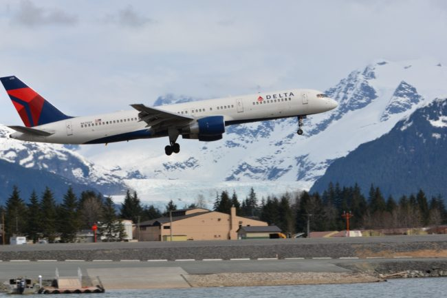 Delta Air Lines performs a test flight into Juneau on Wednesday in preparation for daily service to Seattle starting May 29. (Photo by Doug Wahto)