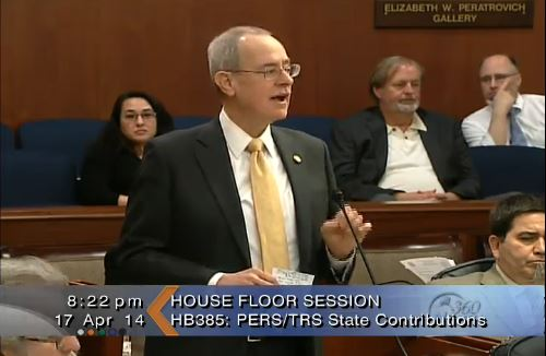 Rep. Mike Hawker (R-Anchorage) talks about the state's contribution to the public employees' and teachers' retirement systems during the 2014 session.