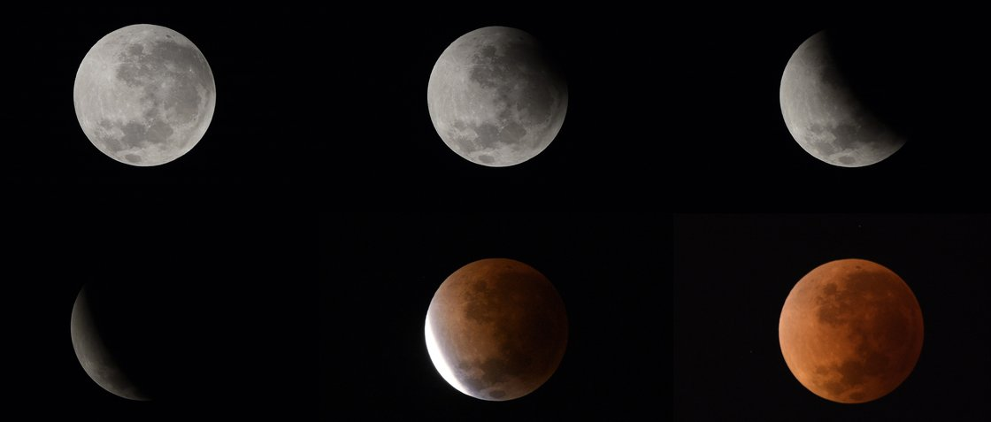These six pictures show the phases of the moon during Tuesday's lunar eclipse. They were taken from Buenos Aires, Argentina. Juan Mabromata /AFP/Getty Images