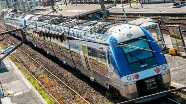 A SNCF Regional Express Train is seen at Hazebrouck's train station in northern France on Thursday. France's train operators admit they made a mistake in ordering new trains that will require millions of dollars to modify station platforms. Philippe Huguen/AFP/Getty Images