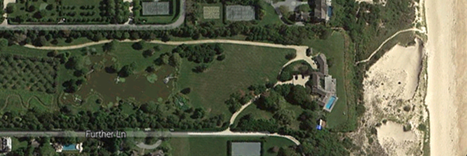 A satellite image depicts a beach-front estate that reportedly sold for $147 million in East Hampton, N.Y. Google Maps