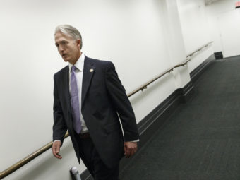 South Carolina GOP Rep. Trey Gowdy leaves a closed-door Republican strategy meeting at the Capitol on Wednesday. Gowdy has been tapped to lead the new Benghazi investigative committee. J. Scott Applewhite/AP