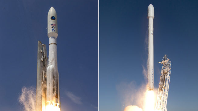ATLAS V (left); FALCON 9 (Right). ULA; SpaceX