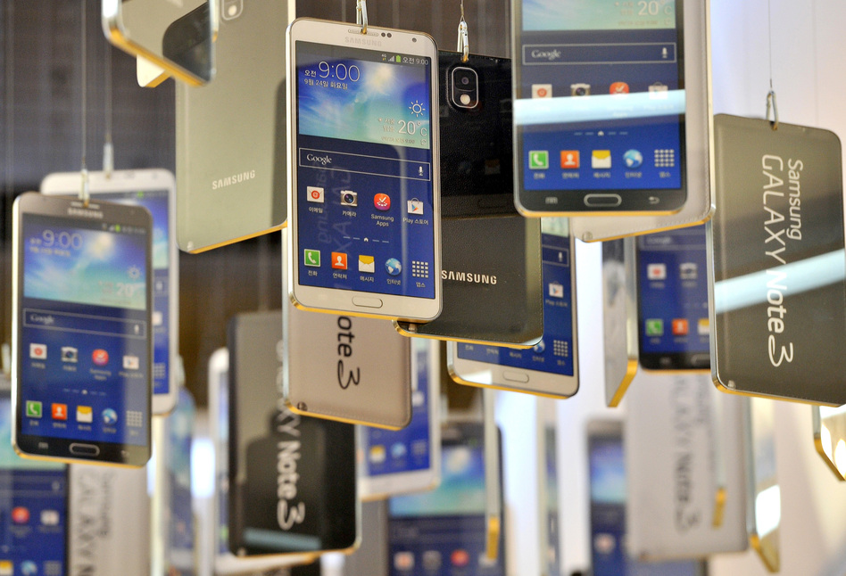 Cardboards of Samsung Electronics' Galaxy Note 3 are seen in a showroom at the company's headquarters in Seoul in November of 2013. Jung Yeon-Je/AFP/Getty Images