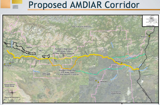 Two potential routes for the the prosed Ambler Mining District Industrial Access Road. (Map courtesy AIDEA)
