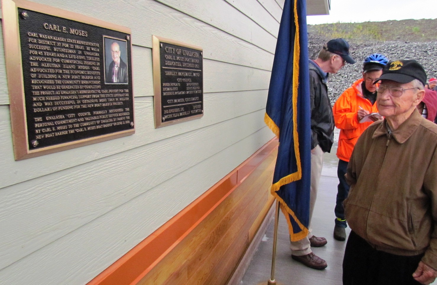 Carl Moses at the dedication of Unalaska's small boat harbor, named for him two years ago. (Photo courtesy city of Unalaska).