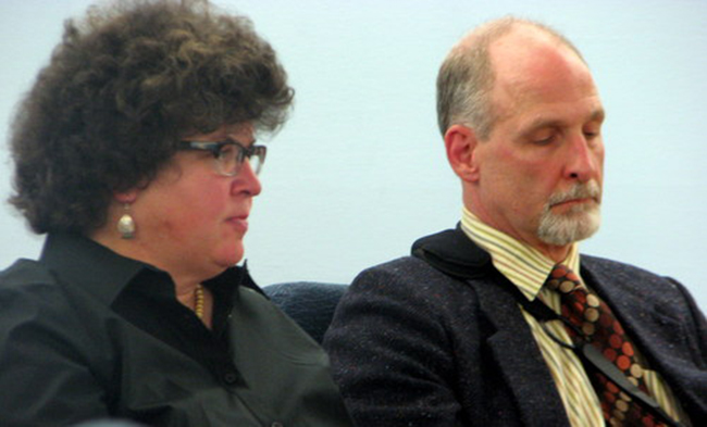 Joe Robidou (r.) listens to jury instructions with his attorney, Julie Willoughby, in court last week. (Photo by Robert Woolsey/KCAW)