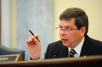 Sen. Mark Begich, chairman of the Senate Commerce, Science and Transportation Subcommittee on Oceans, Atmosphere, Fisheries and the Coast Guard, speaks during the testimony of U.S. Coast Guard Adm. Robert J. Papp Jr., commandant of the Coast Guard, at a hearing in Washington, D.C, April 23, 2013. Papp discussed the Coast Guard fiscal year 2014 budget. (Photo by Petty Officer 2nd Class Patrick Kelley)