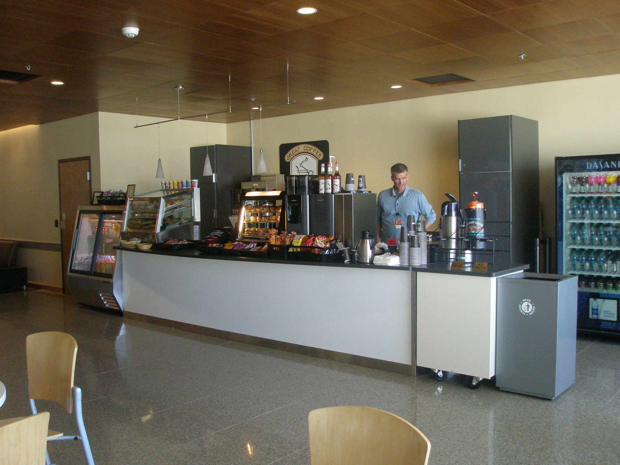 Prior to the new concession stand in the Juneau airport, the only options for travelers' to purchase food or beverage in the departure lounge was  from vending machines (Photo courtesy of Juneau International Airport)