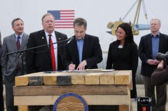 Governor Sean Parnell signed in-state gasline legislation at the Pipeline Training Center in Fairbanks. Pictured: Representative Jay Ramras, Representative Mike Chenault, Governor Sean Parnell, Senator Lesil McGuire, and Scott Heyworth (Photo from Governor's Office press release)