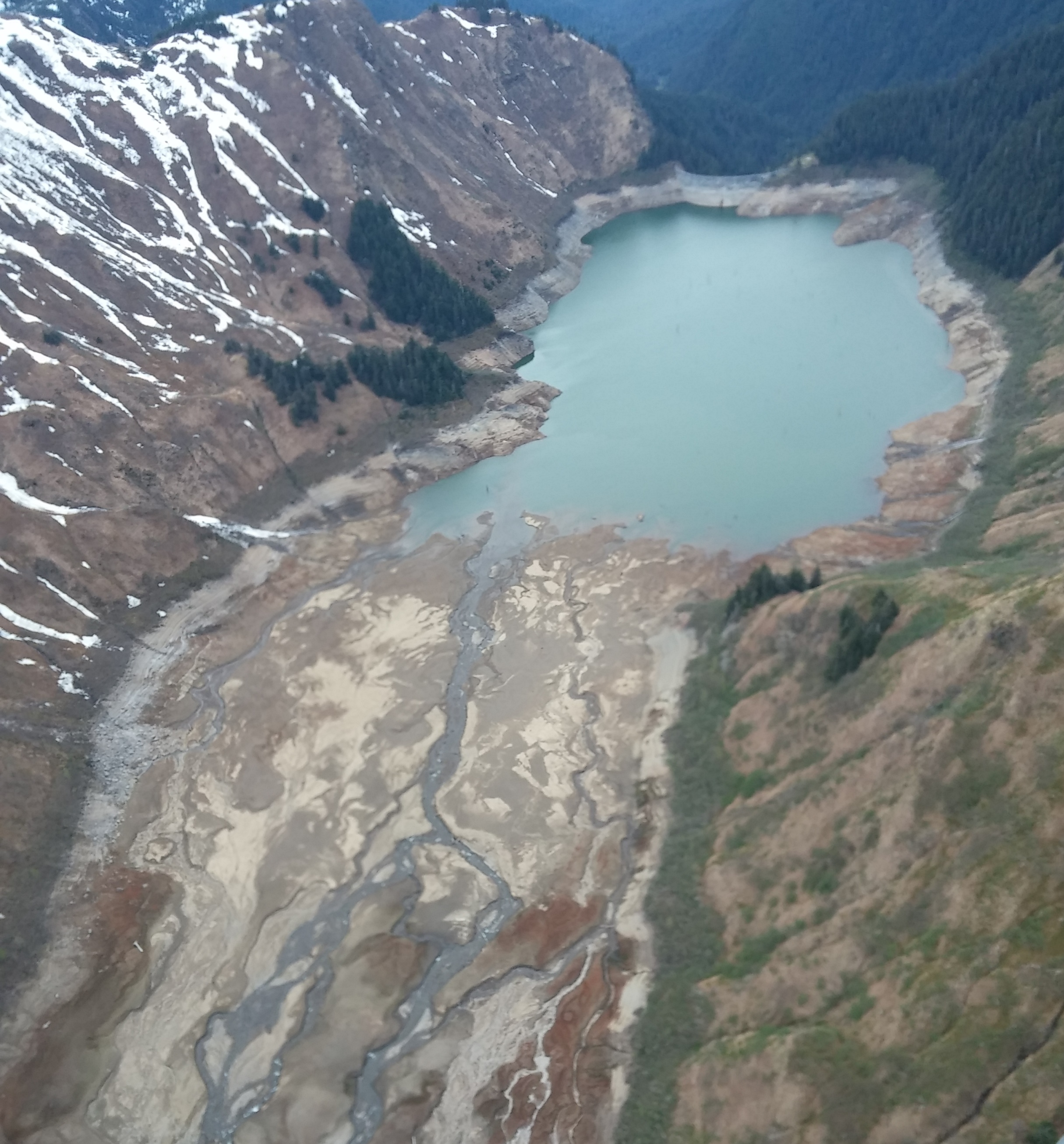 Channels at the upper end of Salmon Creek may be the source of much of the turbidity in the lake during spring runoff. (Photo courtesy Scott Willis/Alaska Electric Light and Power)