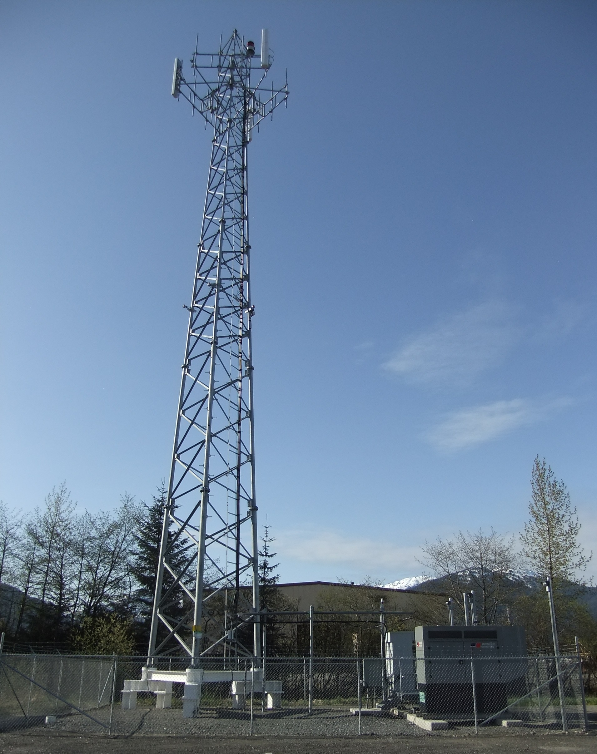 Communications tower in the Mendenhall Valley. (Photo by Rosemarie Alexander)