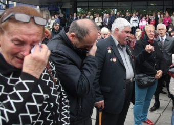 People in Odessa mourned during Monday's funeral ceremony of Vyacheslav Markin, deputy of Odessa's regional council and a leader of the pro-Russian opposition, who died in clashes Friday in the southern Ukrainian city. Anatolii Stepanov/AFP/Getty Images