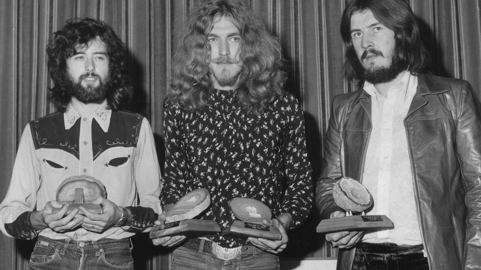 "Jimmy Page, Robert Plant, and John Bonham of Led Zeppelin, in 1970. A new lawsuit says the group borrowed from another band's work without crediting it, for the huge hit ""Stairway to Heaven."" Roger Jackson/Getty Images"