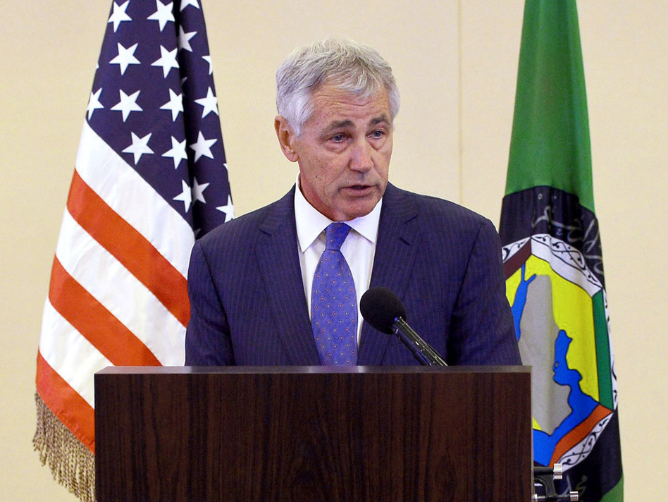 Defense Secretary Chuck Hagel speaks during a news conference after attending the Gulf Cooperation Council meeting in Jiddah, Saudi Arabia, on Wednesday. Hagel confirmed that the U.S. was using drones to search for 270 kidnapped Nigerian schoolgirls. Mandel Ngan/AP