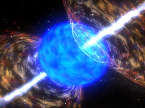 Gamma ray bursts are beams of high-energy particles that shoot from the explosions of dying stars. NASA/Skyworks Digital