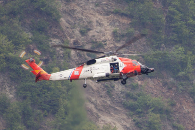 A U.S. Coast Guard H-60 helicopter out of Sitka combed the area of Mt. Roberts Wednesday afternoon. (Photo by Mikko Wilson/KTOO)