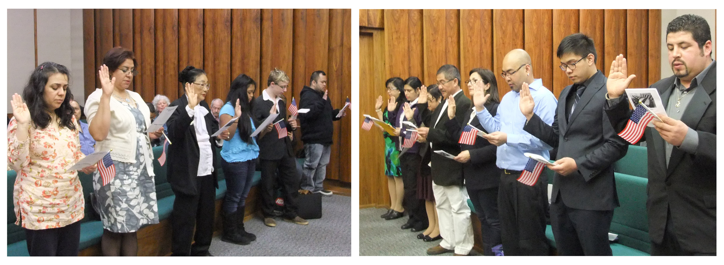 Juneau residents from other countries take the Oath of Allegiance to the U.S. to become American citizens at a ceremony on May 14, 2014. (Photo composite by Rosemarie Alexander/KTOO)
