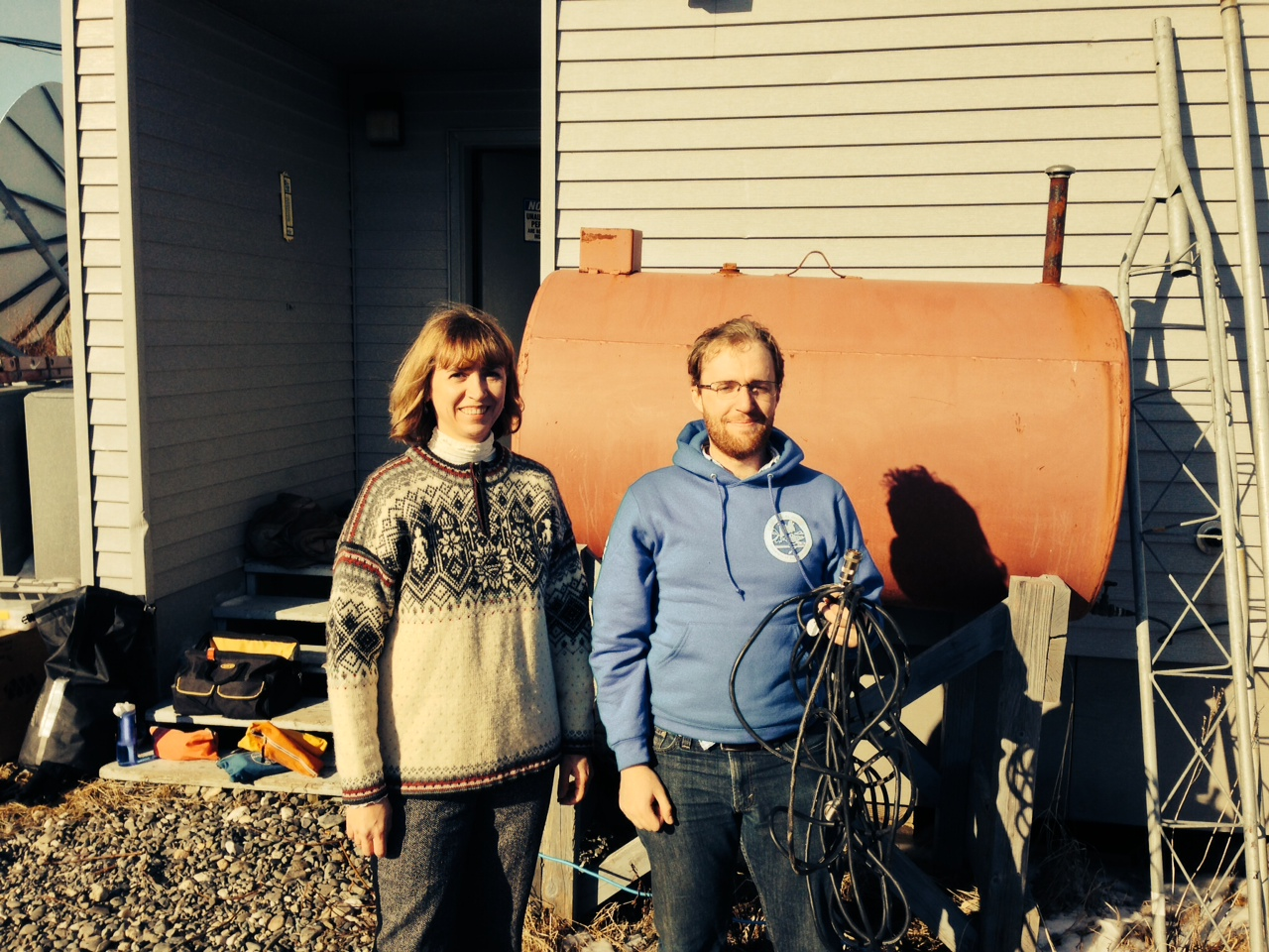 Natalia Ruppert and Christopher Bruton of the Alaska Earthquake Center in Kotzebue, where they traveled in response to recent earthquakes greater than magnitude 5 that occurred near the village of Noatak. (Photo courtesy of Natalia Ruppert)