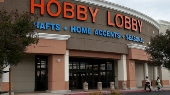 Customers enter a Hobby Lobby store in Antioch, Calif., this past spring. The Supreme Court is ruling on the crafts store chain's resistance to portions of the Affordable Care Act. The store's owners cite their religious freedom. Justin Sullivan/Getty Images
