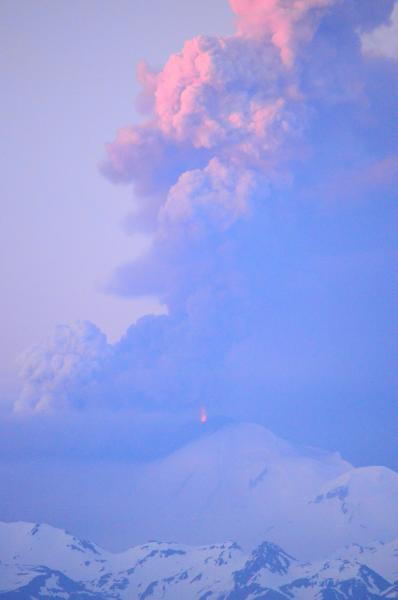 Lava fountains at Pavlof Volcano, as seen from the southwest on June 2. (Photo courtesy Rachel Kremer)