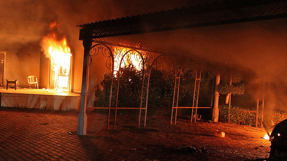 Sept. 11: The U.S. consulate in Benghazi, Libya, was aflame after coming under attack. AFP/Getty Images