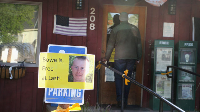 Hailey, Idaho: A sign announcing the release of Sgt. Bowe Bergdahl outside Zaney's coffee shop, where Bergdahl worked as a teenager. A rally celebrating his return home has been canceled, after organizers received threats of protests and hate mail. Scott Olson/Getty Images