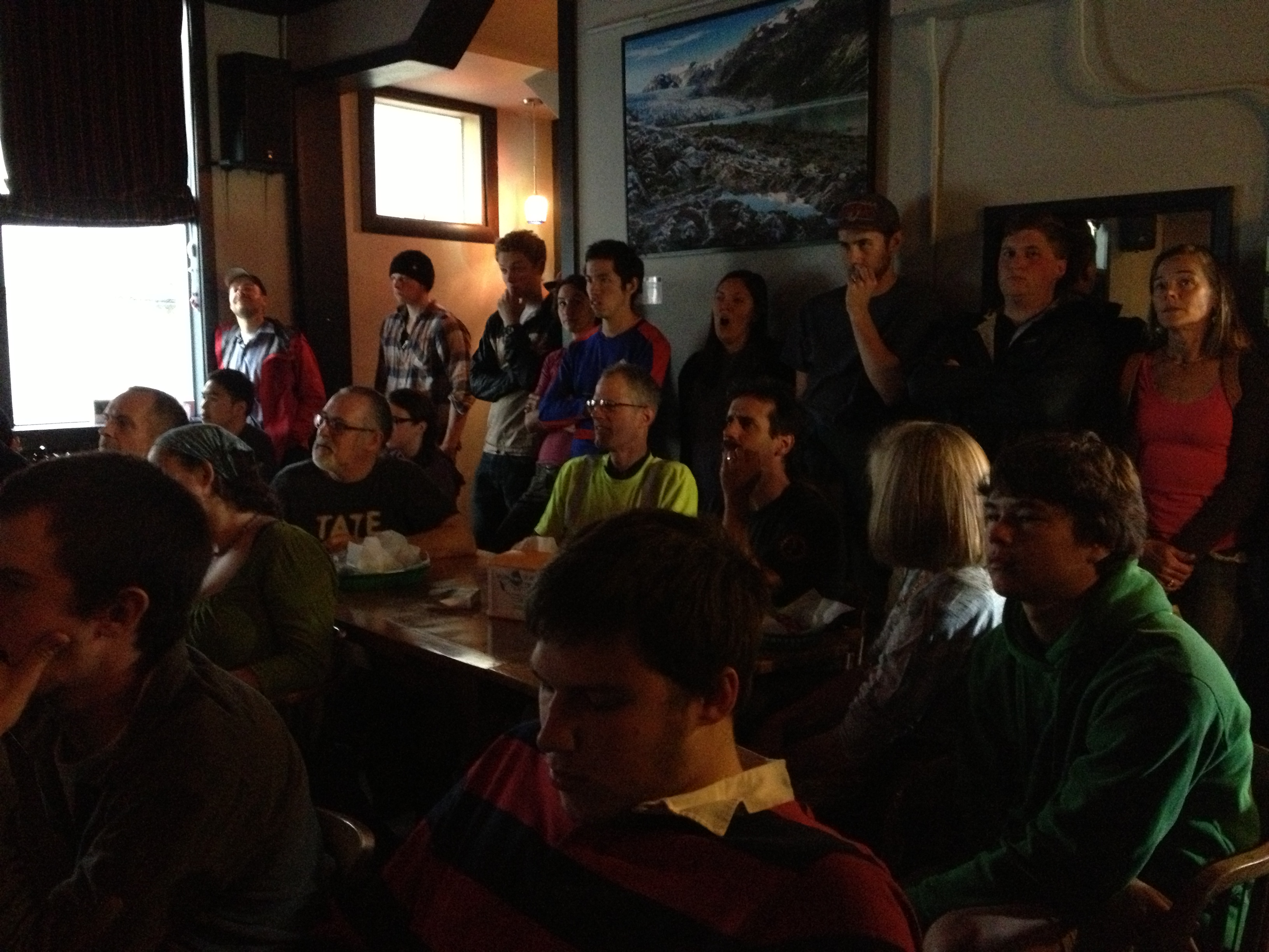Chairs fill up quickly during some World Cup matches at Silverbow Bakery. (Photo by Lisa Phu/KTOO)