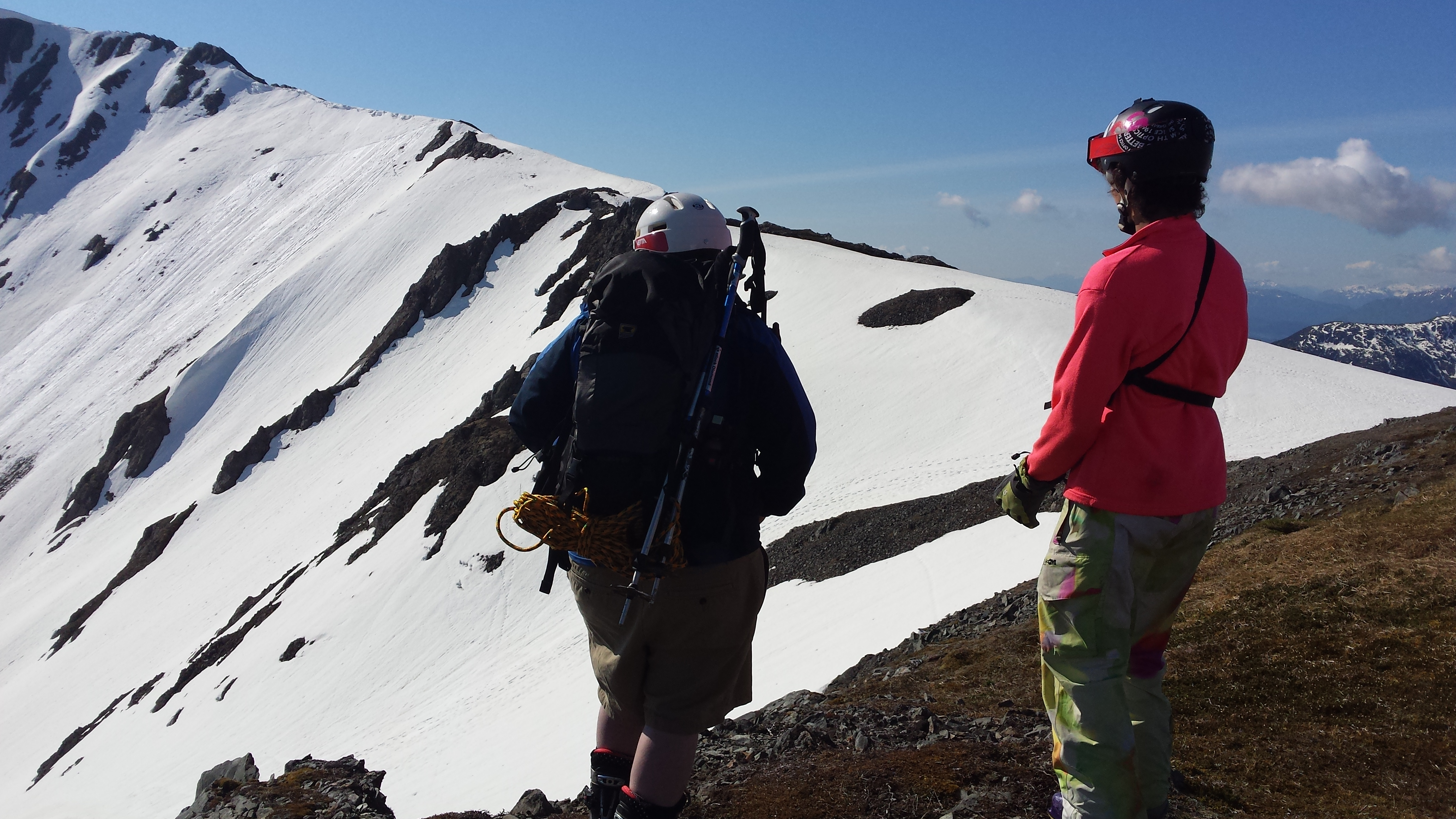 Volunteer search skiers were dropped off by helicopter on Icy Gulch Friday to look for missing hiker Sharon Buis. (Photo courtesy of Luke Holton)