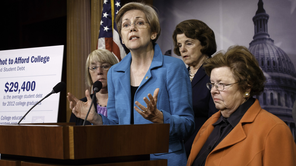 """Who does Washington work for?"" asked Sen. Elizabeth Warren, D-Mass., after her bill that would let people refinance student debt was shot down Wednesday. J. Scott Applewhite/AP"
