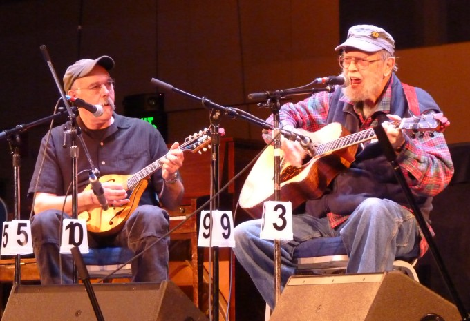 Juneau's Pat Henry, right, and Bob Banghart, left, performing as We're Still Here in April's festival. The two are the only musicians to have played at all 40 events.